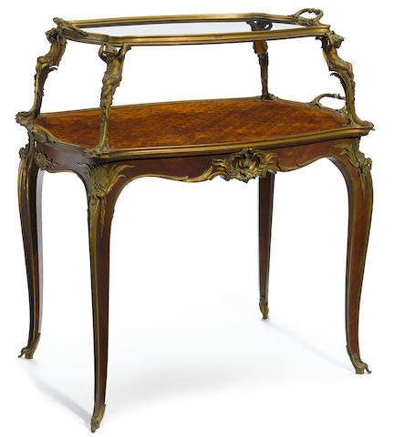 A fine quality French gilt bronze mounted parquetry inlaid table á thè François Linkecirca 1900