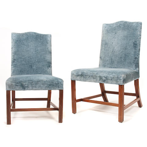A pair of George III upholstered mahogany chairs
