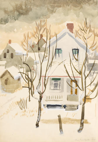Charles Burchfield (American, 1893-1967) Untitled (Street Scene in Winter) 20 x 14in