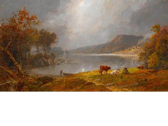 Jasper Francis Cropsey (American, 1823-1900) Greenwood Lake, N.J. 12 x 20in