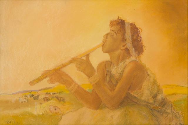Abel Pann (Israeli, 1883-1963), David, signed (lower left), pastel on paper, 20 x 28in
