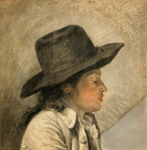French School, 18th Century A young man in profile 16 x 15 1/2in