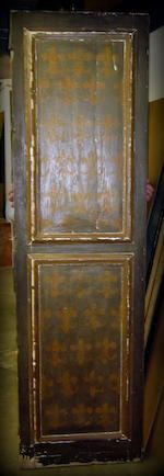 A very fine pair of Spanish Baroque polychrome and parcel giltwood doors and surround  late 17th/early 18th century