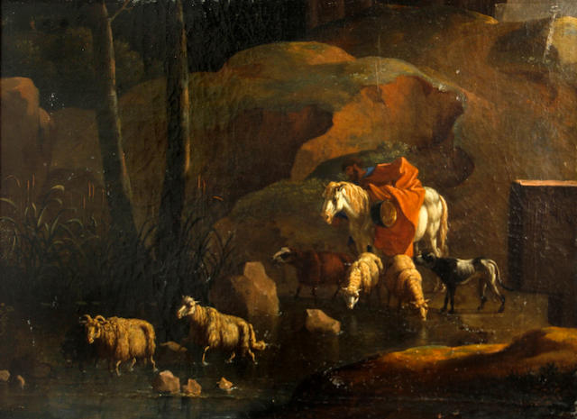 Follower of Karel Dujardin (Amsterdam circa 1622-1678 Venice) A landscape with a shepherd and his flock by a stream 15 x 21 3/4in