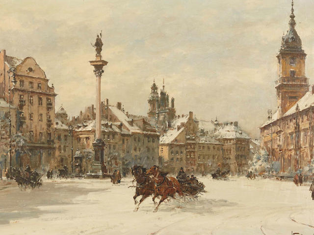 Wladyslaw Chmielinski (Polish, 1911-1979) Winter in Warsaw 14 x 20in