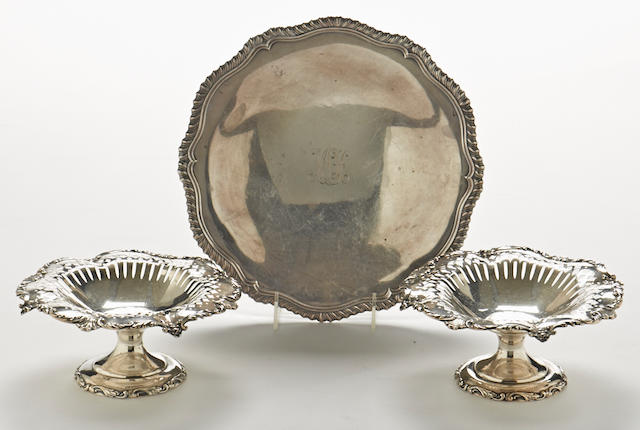 An assembled three-piece group of American sterling silver tableware by various makers, 20th century