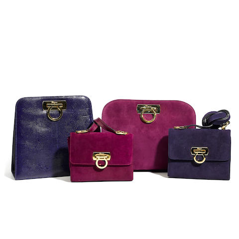 A Salvatore Ferragamo purple lizard handbag