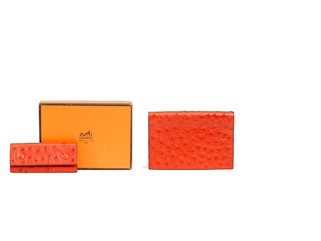 An Hermès red ostrich Grand Modèle agenda and key holder