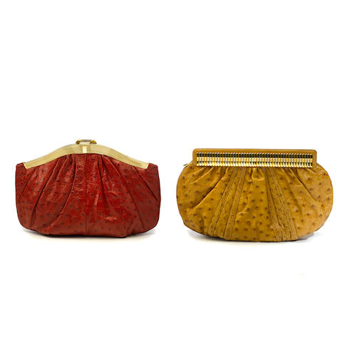 Two Judith Leiber tan and red ostrich clutches