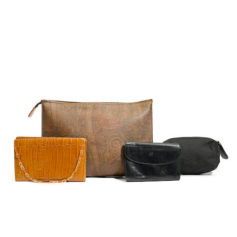An assembled group of pouches, wallets and agendas