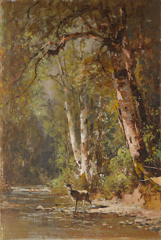 Thomas Hill (American, 1829-1908) Deer by a stream 12 x 8in