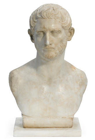 An Italian carved marble bust of a gentleman 18th century