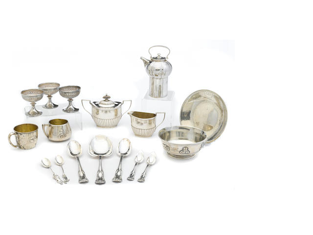 An assembled group of American  sterling silver  flatware and hollowware by various makers, late 19th / 20th century