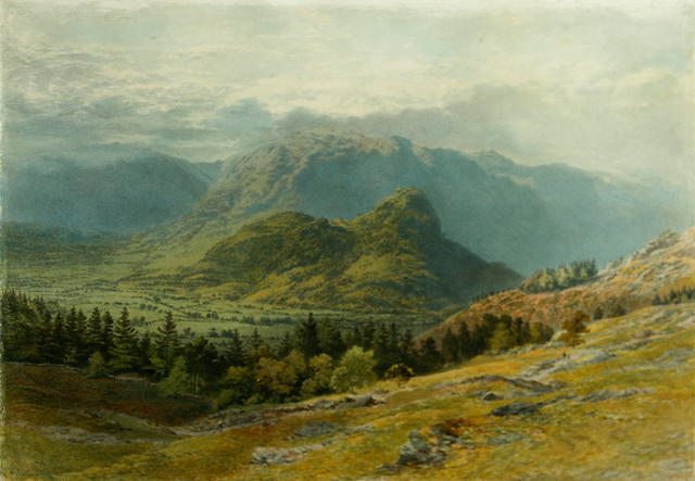 Henry Anelay (British, 1817-1883) An extensive mountainous landscape with figures on a track in the foreground 15 1/2 x 22in