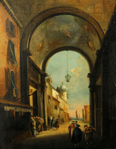 Italian School A Venetian courtyard 17 1/2 x 13 3/4in