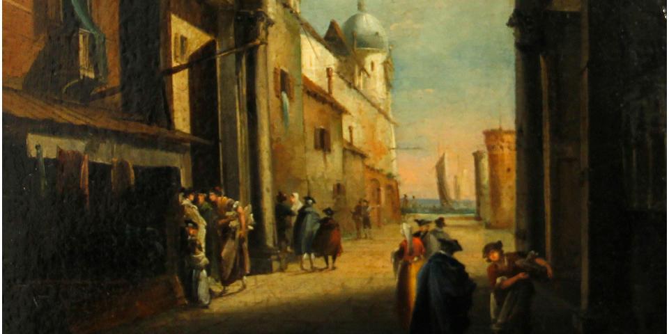 Italian School A Venetian courtyard 17 1/2 x 13 3/4in