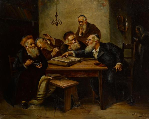 BERNARD TREBACZ (Polish, 1861- 1941) Argument of the Scholars signed (lower right)