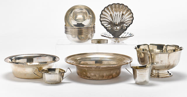 An assembled group of American sterling silver hollowware by S. Kirk & Son, Baltimore, MD; Shreve & Co., San Francisco, CA; and other makers, 20th century