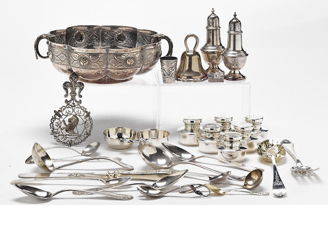 An assembled group of International silver flatware and hollowware by various makers, 18th - 20th century