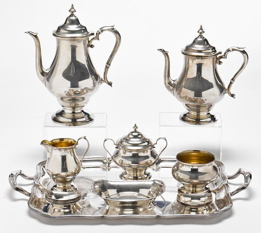 An American  sterling silver  five piece tea and coffee service  by The Alvin Corporation, Providence, RI,  20th century