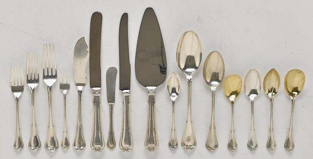 An American sterling silver part flatware service for twelve by Gorham Mfg. Co., Providence, RI, first half 20th century