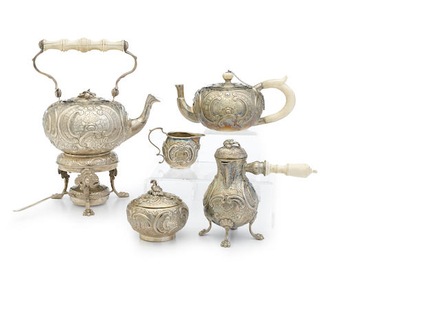 A five-piece metalware diminutive tea and coffee service most pieces marked with a nine-point coronet over a letter,  probably 19th century