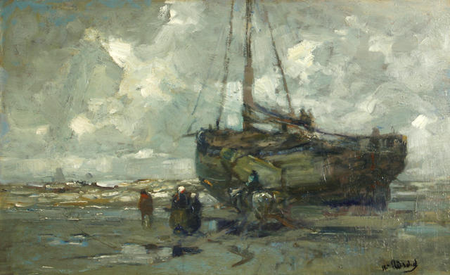 William Frederick Ritschel (American, 1864-1949) Katwyk strand life, Holland 15 x 24in