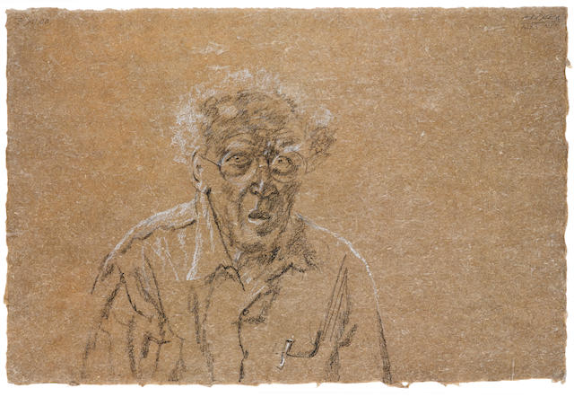 "AVIGDOR ARIKHA (Israeli, 1929-2010) Self portrait signed ""ARIKHA"" and in Hebrew (upper right)"