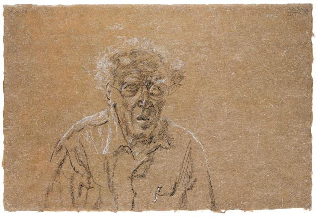 "AVIGDOR ARIKHA (Israeli, 1929-2010) Self portrait signed ""ARIKHA"" and in Hebrew (upper right)"