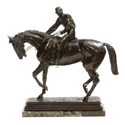 A patinated bronze equestrian group of a jockey on horseback