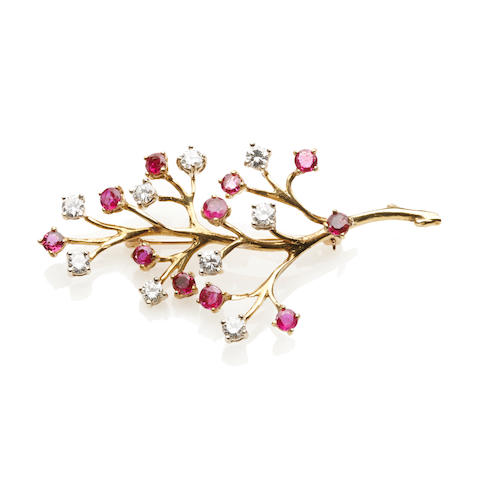A ruby, diamond and 18k gold branch brooch
