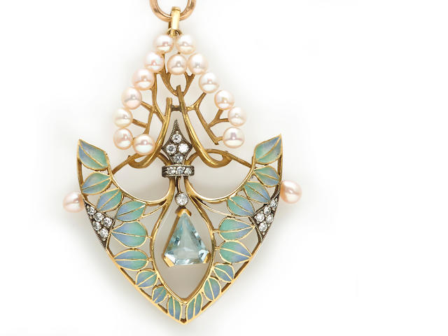 An aquamarine, diamond, cultured pearl and plique-à-jour enamel pendant with eighteen karat gold longchain