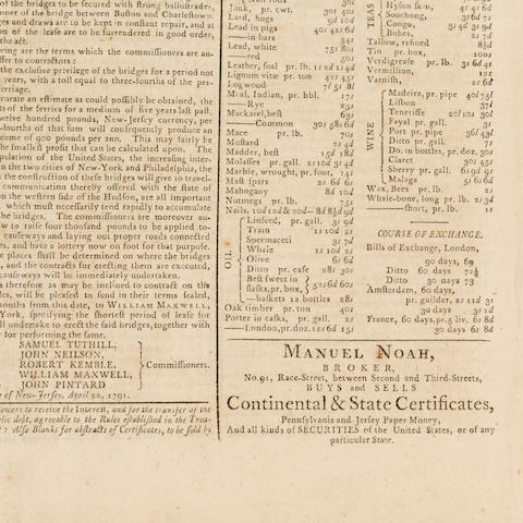 [MANUEL NOAH.] Gazette of the United States. Philadelphia, PA: May 21, 1791.