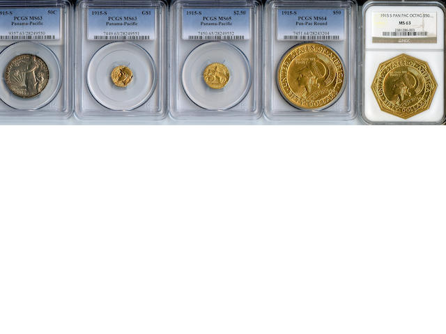 Five Piece Panama-Pacific Commemorative Gold Set with Copper Frame of Issue