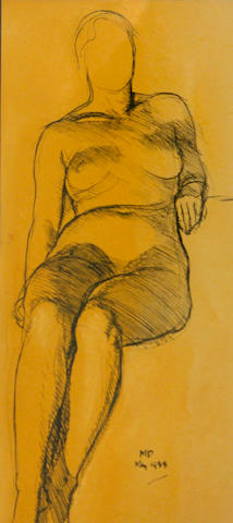 Maynard Dixon (1875-1946) Study of a female nude, 1933; Sketch, thought to be a view of damage from the 1906 earthquake (2) first sight: 13 x 5 1/2in; second 6 x 4 1/4in
