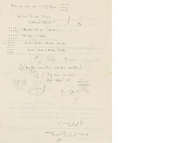 "EINSTEIN, ALBERT. 1879-1955. Autograph Manuscript Signed (""A.E.""), 2 pp recto and verso,"