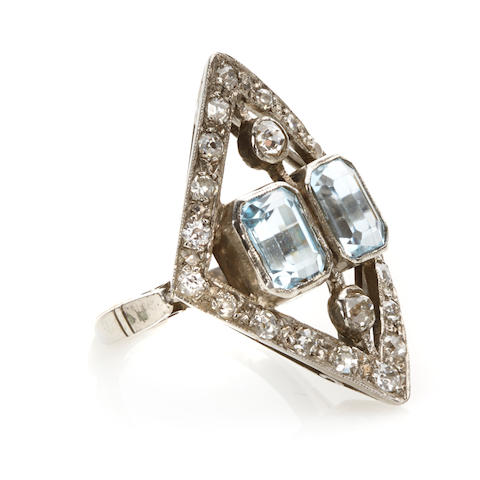 An aquamarine, diamond and white gold ring