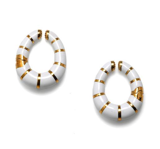 A pair of enamel and eighteen karat gold hoop earclips, Bulgari