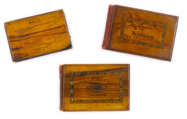 THREE OLIVE WOOD BOOKS. [Jerusalem. Ephtimos Frères: Jerusalem & Port Saïd, 1921.]