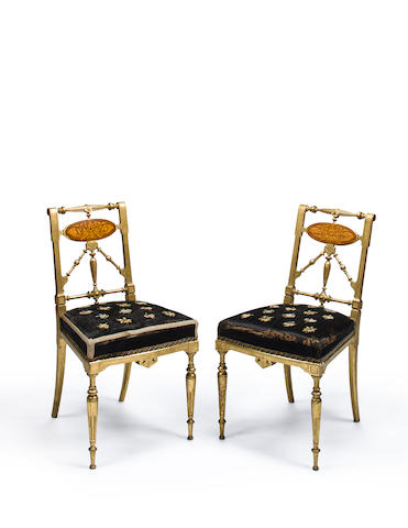 The Beaty family pair of Aesthetic Movement gilt side chairs  attributed to Herter Bros, New York, circa 1880
