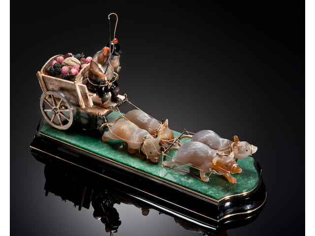 "Agate and Multi-gemstone Music Box--""Hamster with Mice with Harvest Cart""--Playing ""Happy Birthday to You"""