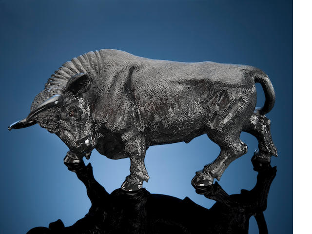 Black Obsidian Carving of a Bull