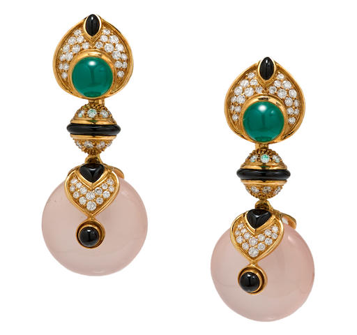 A pair of rose quartz, black onyx, chrysoprase and diamond earclips, Marina B.