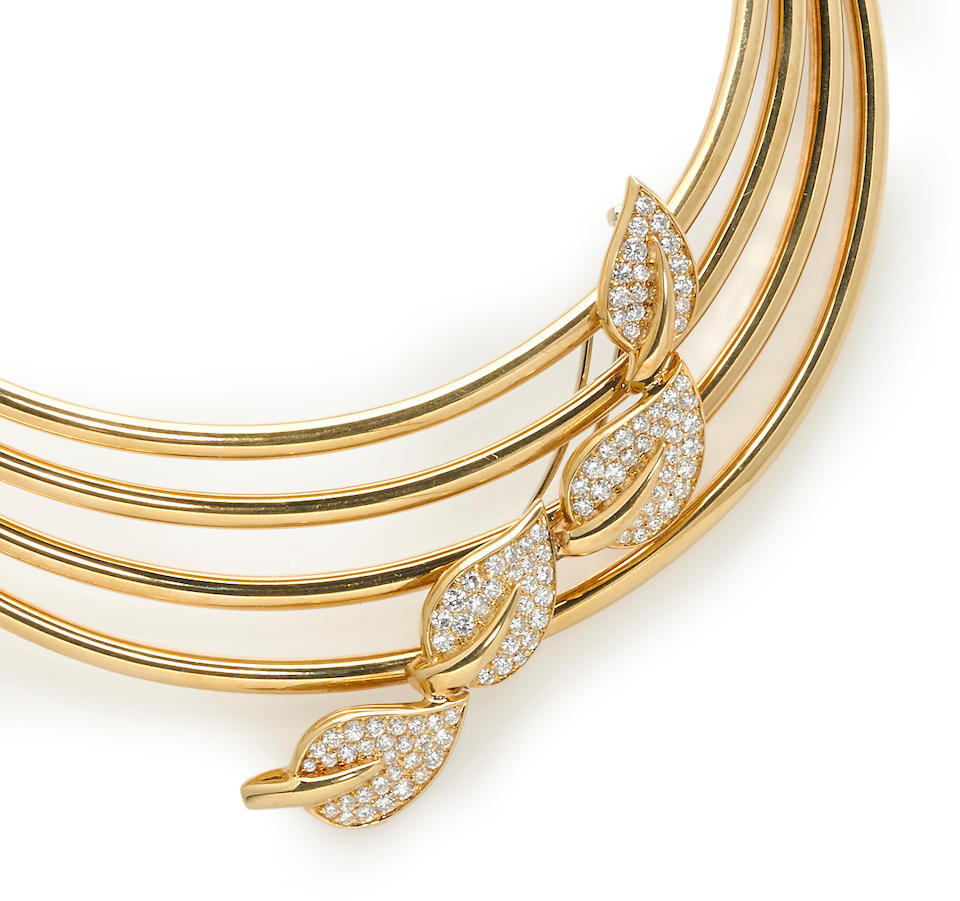 A diamond brooch with eighteen karat gold multi-row necklace, Fred
