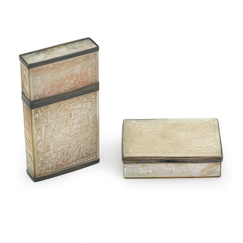 Two Chinese Export carved mother-of-pearl boxes unmarked, late 19th / early 20th century
