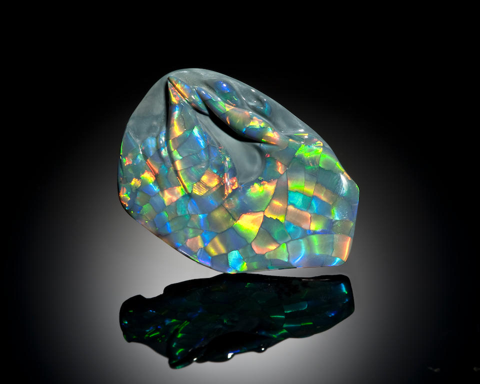 Exceptional Carved Black Opal with Distinctive Pattern