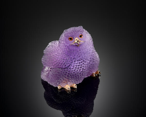 Very Fine Amethyst Carving of a Baby Snow Owl