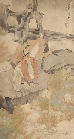 After Ren Yi (1840-1895) Scholar and Attendant in Landscape