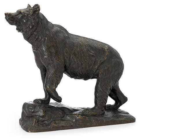 A French patinated bronze model of a bear  after a model by Isidore-Jules Bonheur (French, 1827-1901) Peyrol foundry, Paris fourth quarter 19th century