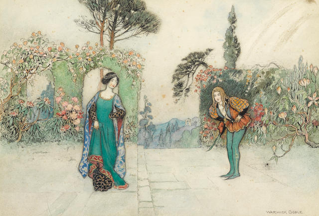 GOBLE, WARWICK. 1862-1943. Violet and the Prince in the Garden,